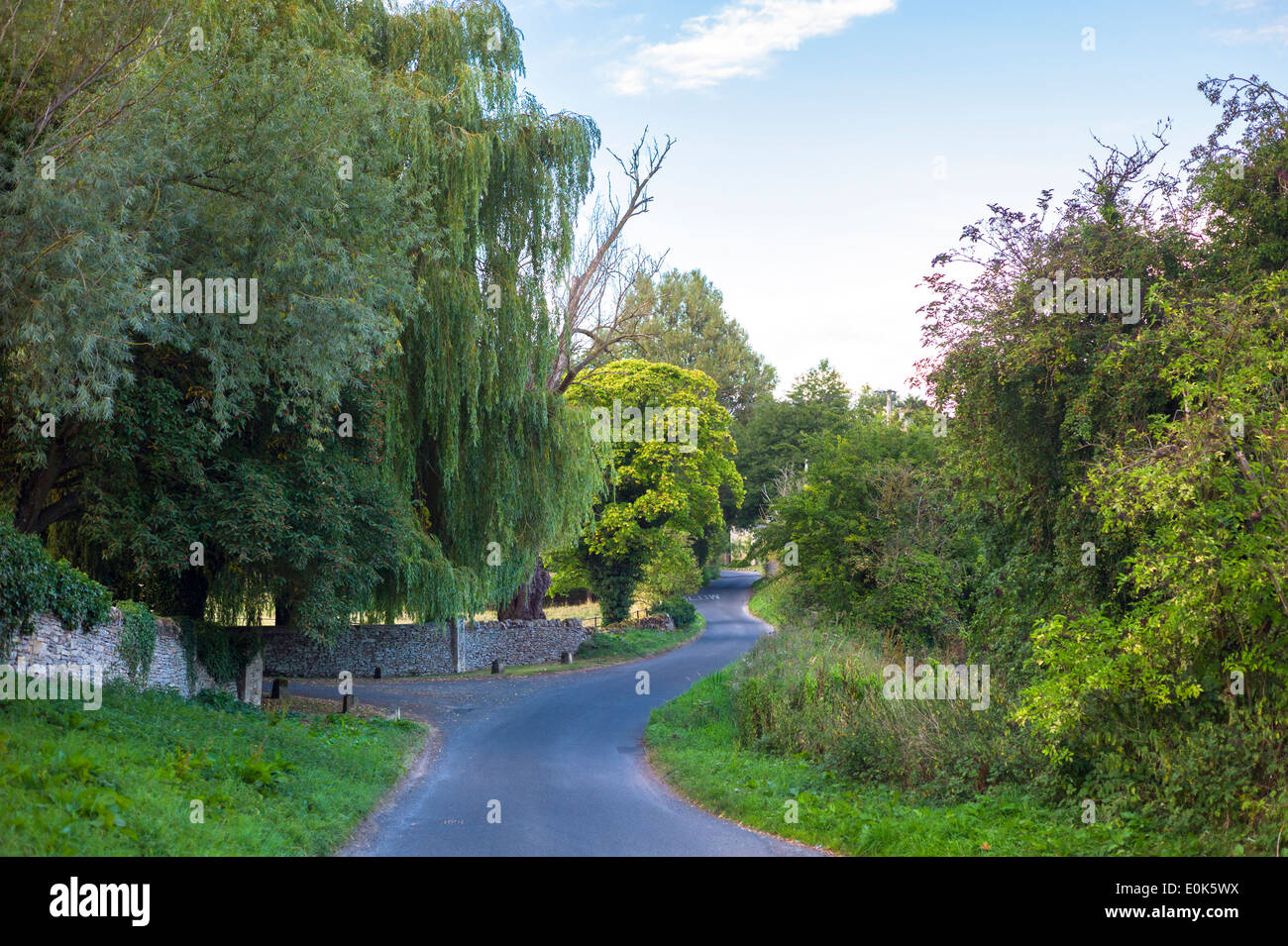 Quiet, deserted winding country lane at Swinbrook in The Cotswolds, Oxfordshire, UK - Stock Image