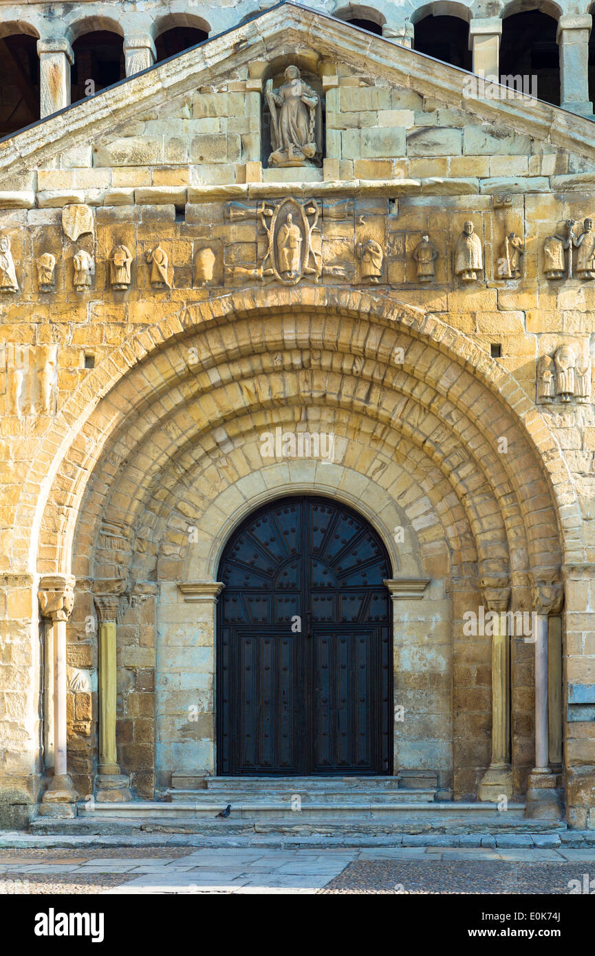Doorway of Colegiata Santillana, St Juliana's Collegiate Church, in Santillana del Mar, Cantabria, Northern Spain - Stock Image