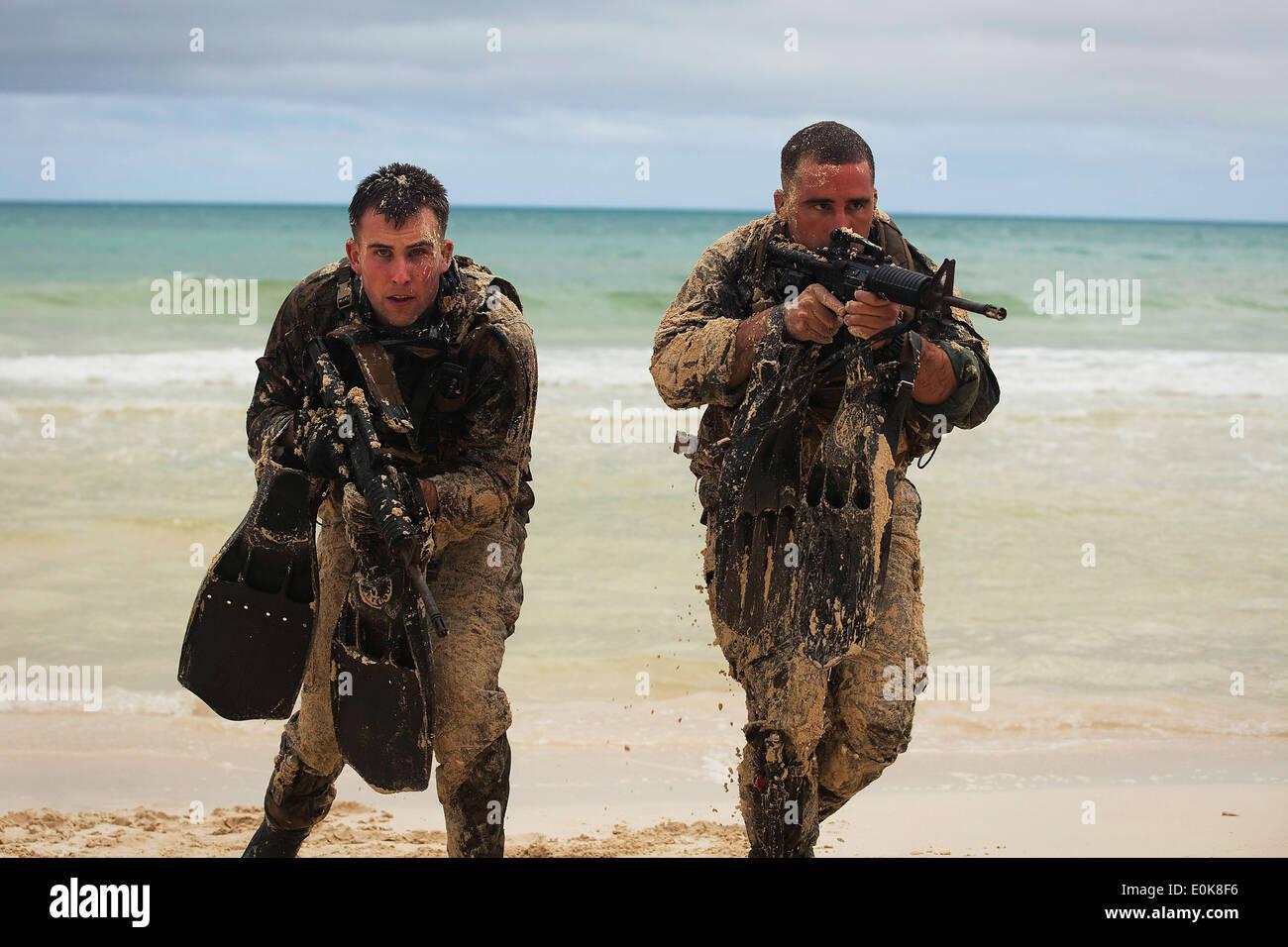 Cpl. Jonathon Schannep and Sgt. Daniel Kahn, force reconnaissance Marines with 4th Force Reconnaissance Company, Stock Photo