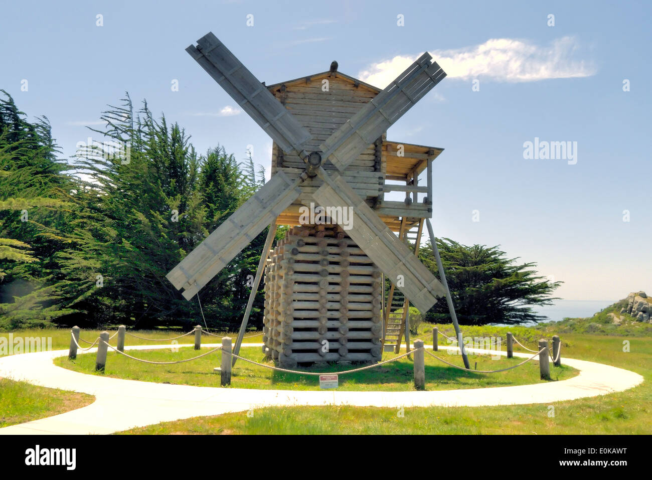 A wooden windmill - Stock Image
