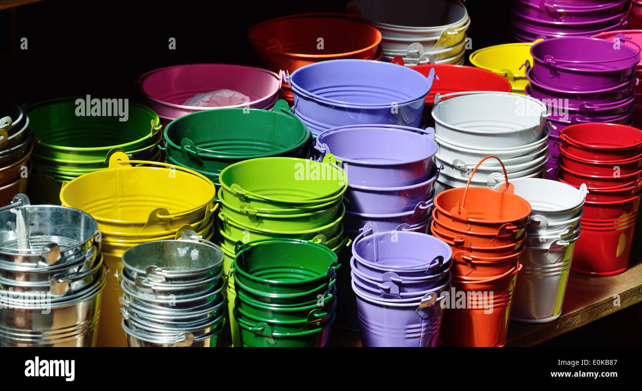 Collection of the varicolored metal buckets - Stock Image