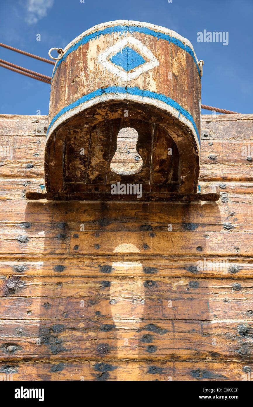 Closet of a handmade Dhau ship in Oman - Stock Image