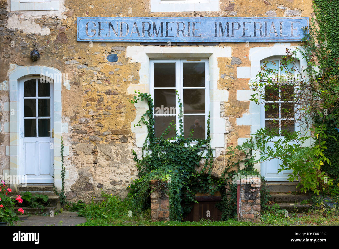 Traditional old French Gendarmerie police station in Western France - Stock Image