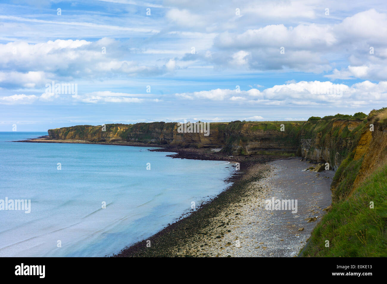 The beach at La Pointe du Hoc where allied forces came ashore during World War II in Normandy, France - Stock Image