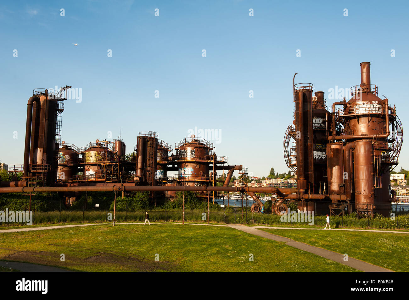 Gas Works Park was formally a gasification plant which was converted into a public space in 1975. - Stock Image