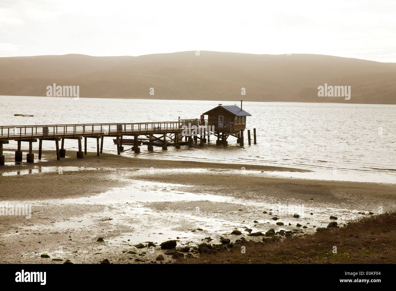 A boathouse on Tomales Bay. Stock Photo