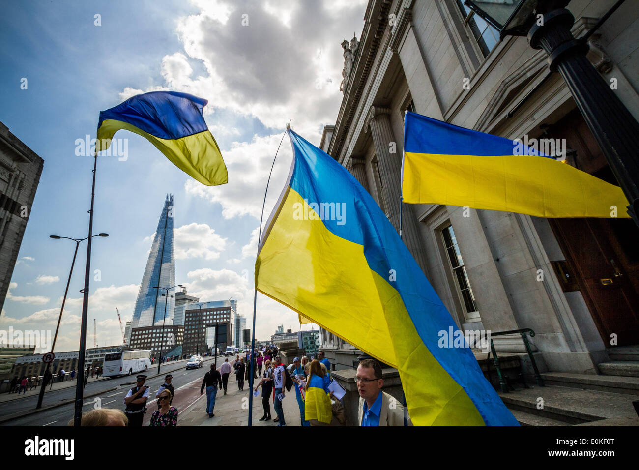 London, UK. 15th May, 2014. Euromaidan London: Ukrainian Protest against FTSE Accessing Russia Credit:  Guy Corbishley/Alamy Live News - Stock Image