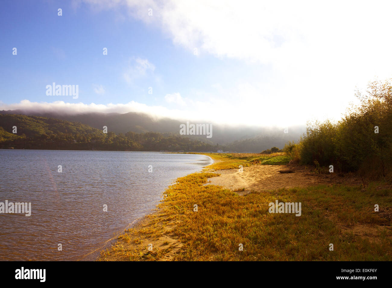 A hiking trail along the water on the shoreline of Tomales Bay. - Stock Image