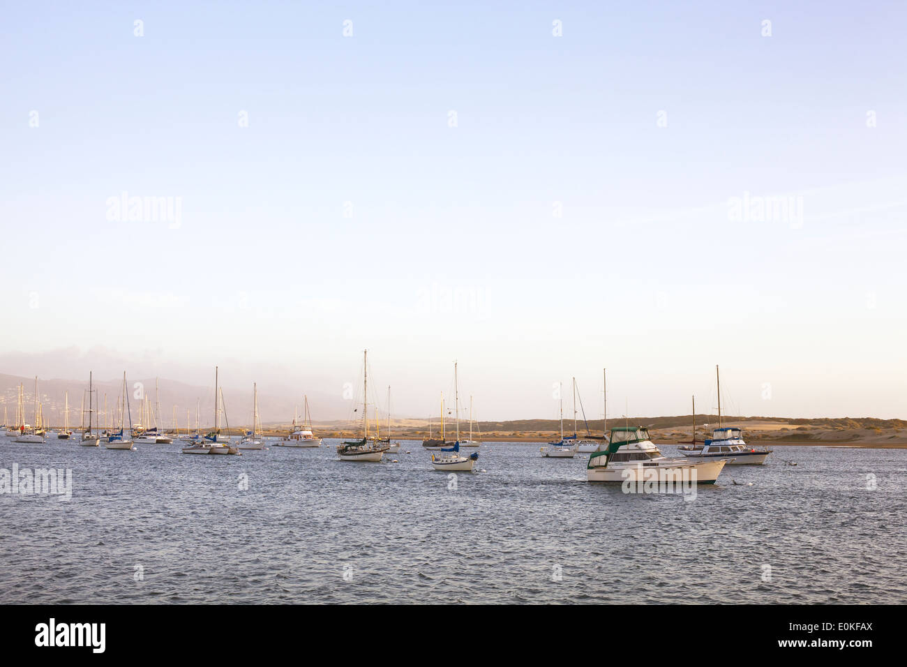 A group of sailboats anchored on the water in the evening light. - Stock Image