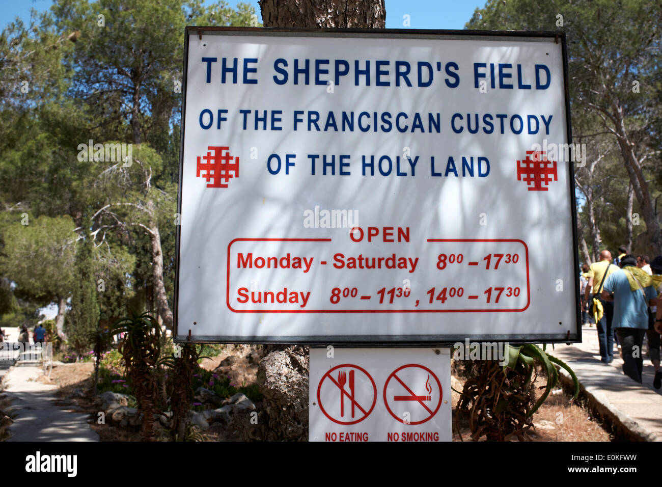 Sign for The Shepherd's Field of the Franciscan  Custody of the Holy Land - Stock Image