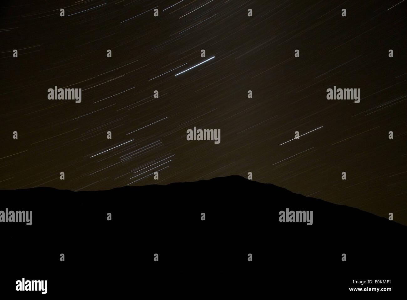 Stars above Ben Ohau, Mackenzie Country, South Island, New Zealand - Stock Image