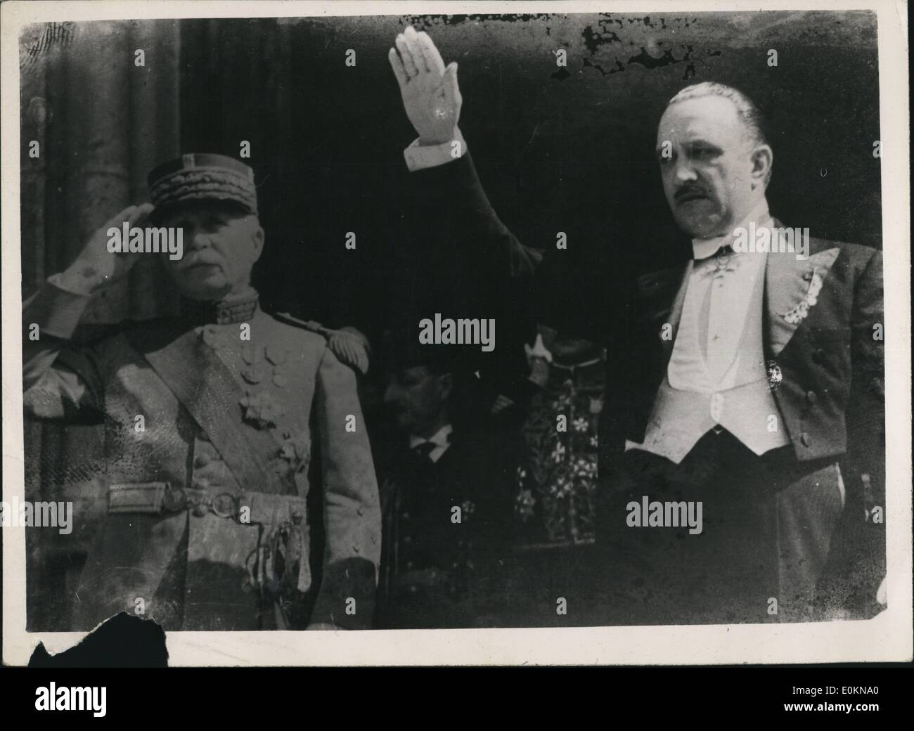 Jan. 1, 1920 - Field Marshal Petain saluting commandant of Burgos after he had presented his credentials to General Franco as the French Ambassador to nationalist Spain. with him is Baron De Las Turres. - Stock Image