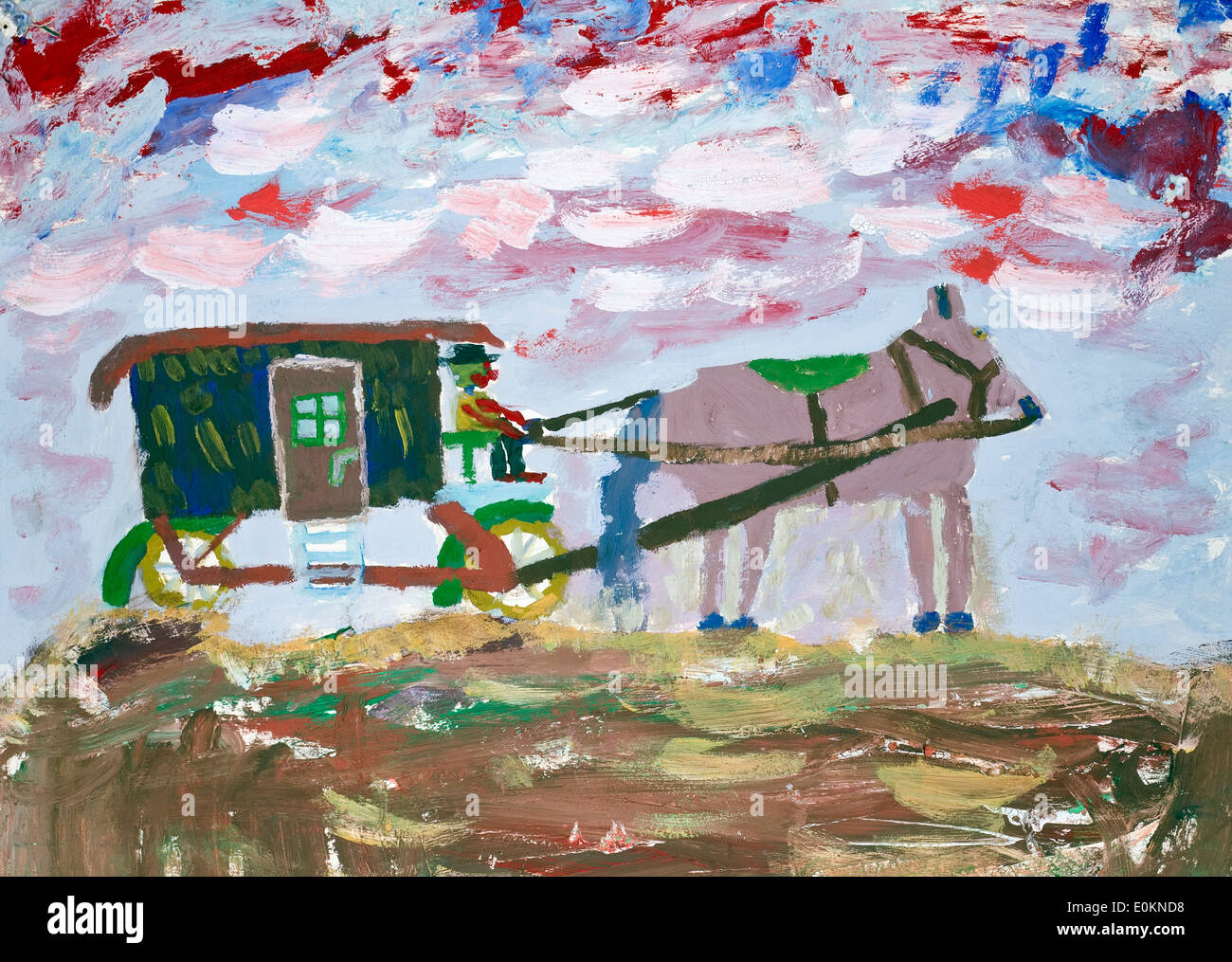Circus came to us concept. Pink horse, green van and sad clown. Naive child oil art handmade illustration - Stock Image