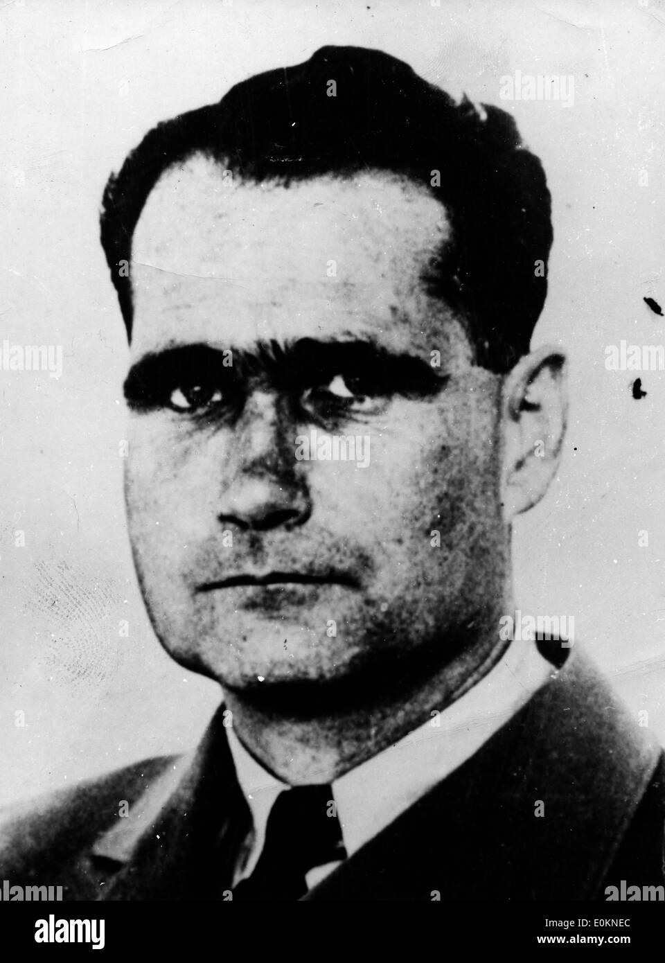 Jan. 01, 1930 - Germany - File Photo: circa 1930s-1940s. File Photo A portrait of Nazi leader RUDOLF HESS. - Stock Image