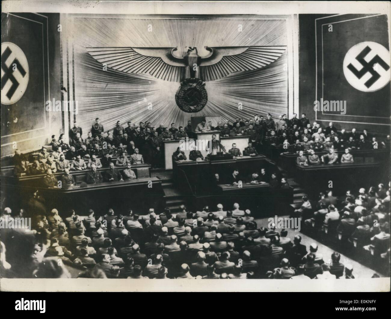 Jan. 1, 1930 - Hitler speaks in the Reichstag. (exact date unknown) - Stock Image