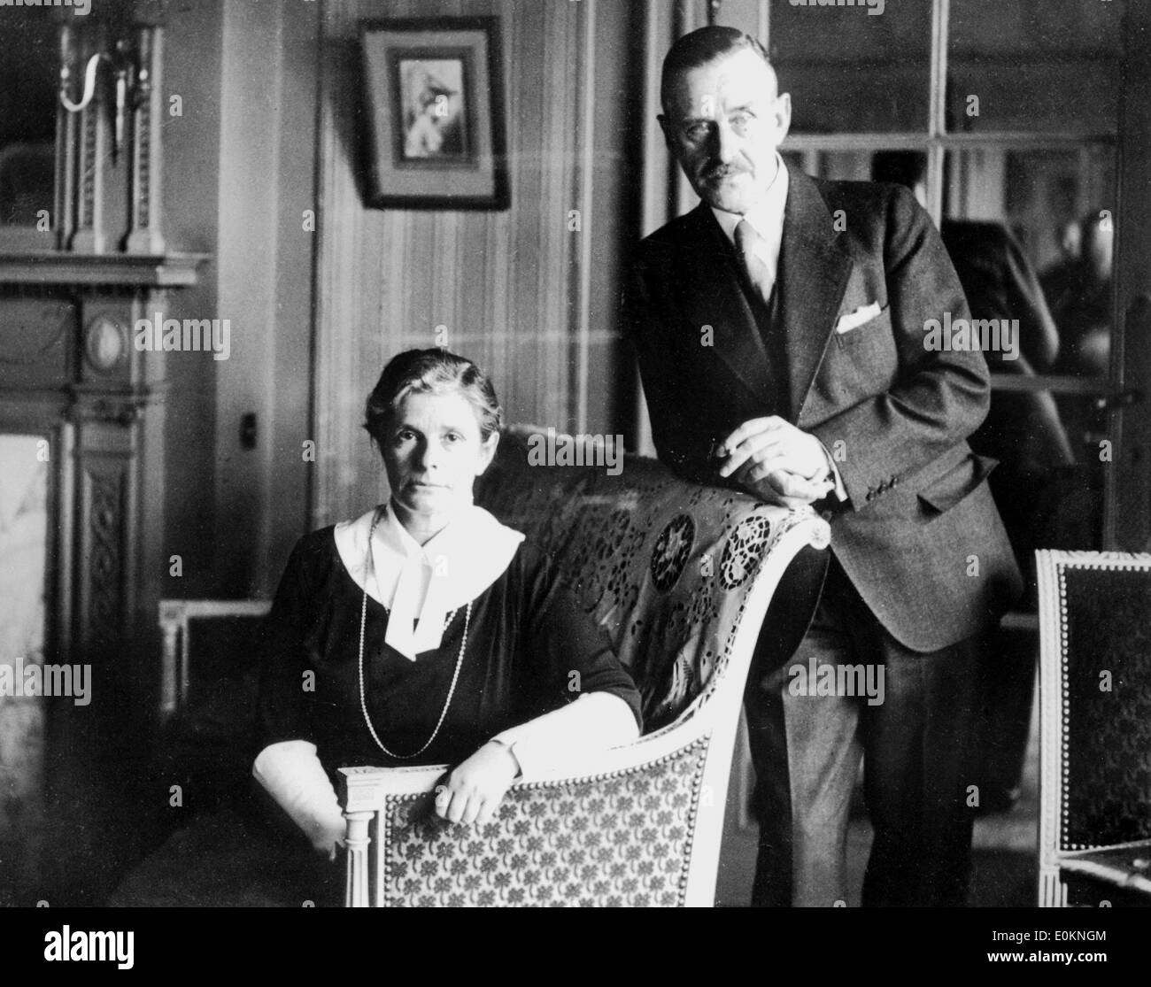 Portrait of Thomas Mann with wife Katja Mann - Stock Image