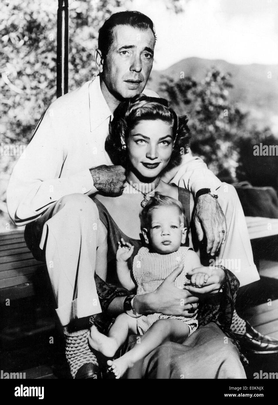 Portrait of actor Humphrey Bogart with wife Lauren Bacall and son Stephen - Stock Image
