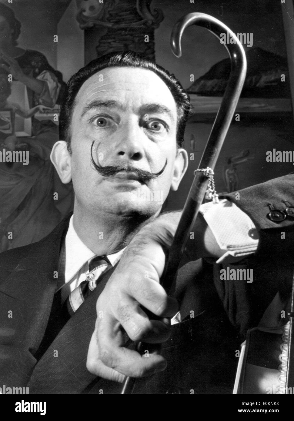 Portrait of surrealist artist Salvador Dali - Stock Image