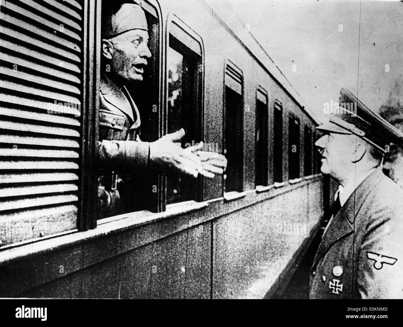 Adolf Hitler bidding farewell to Mussolini - Stock Image