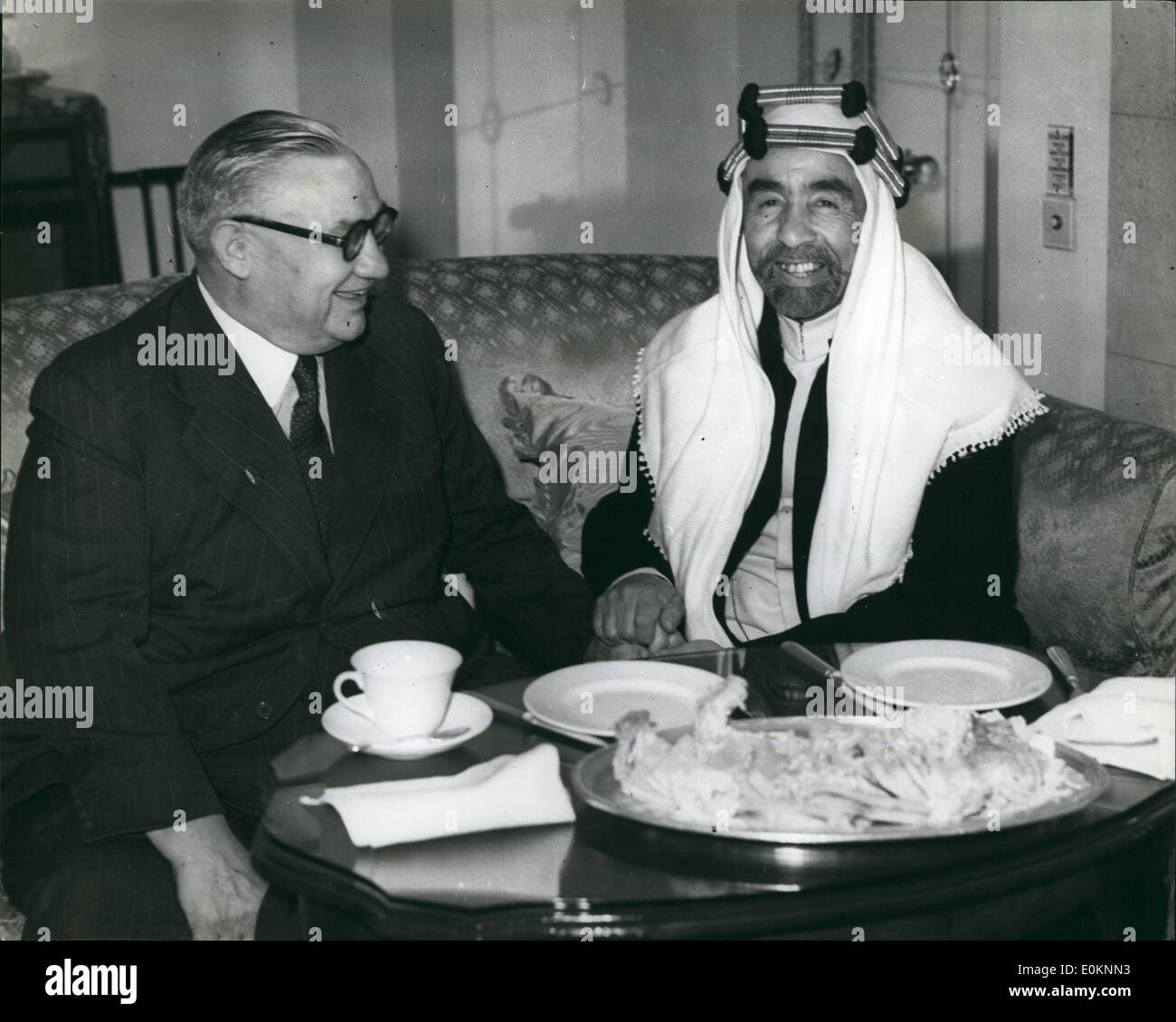 Aug. 08, 1940 - Mr. Bevin Meets King Abdullah Conference At The  park Hotel: Mr. Bevin the Foreign Minister King Abdullah of Jordan had a conference at the Park hotel, this evening. Photo Shows King Abdullah and Mr. Bevin  happy mood during their meeting at the hotel this evening. - Stock Image