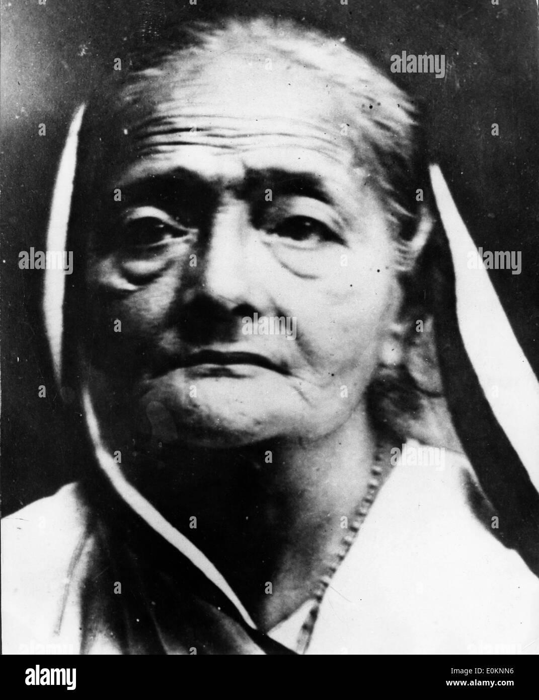 Portrait of Mahatma Ghandi's wife Kasturba Gandhi - Stock Image