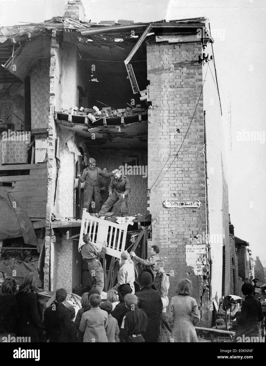 Wreckage in Birmingham after a war raid during The Blitz - Stock Image