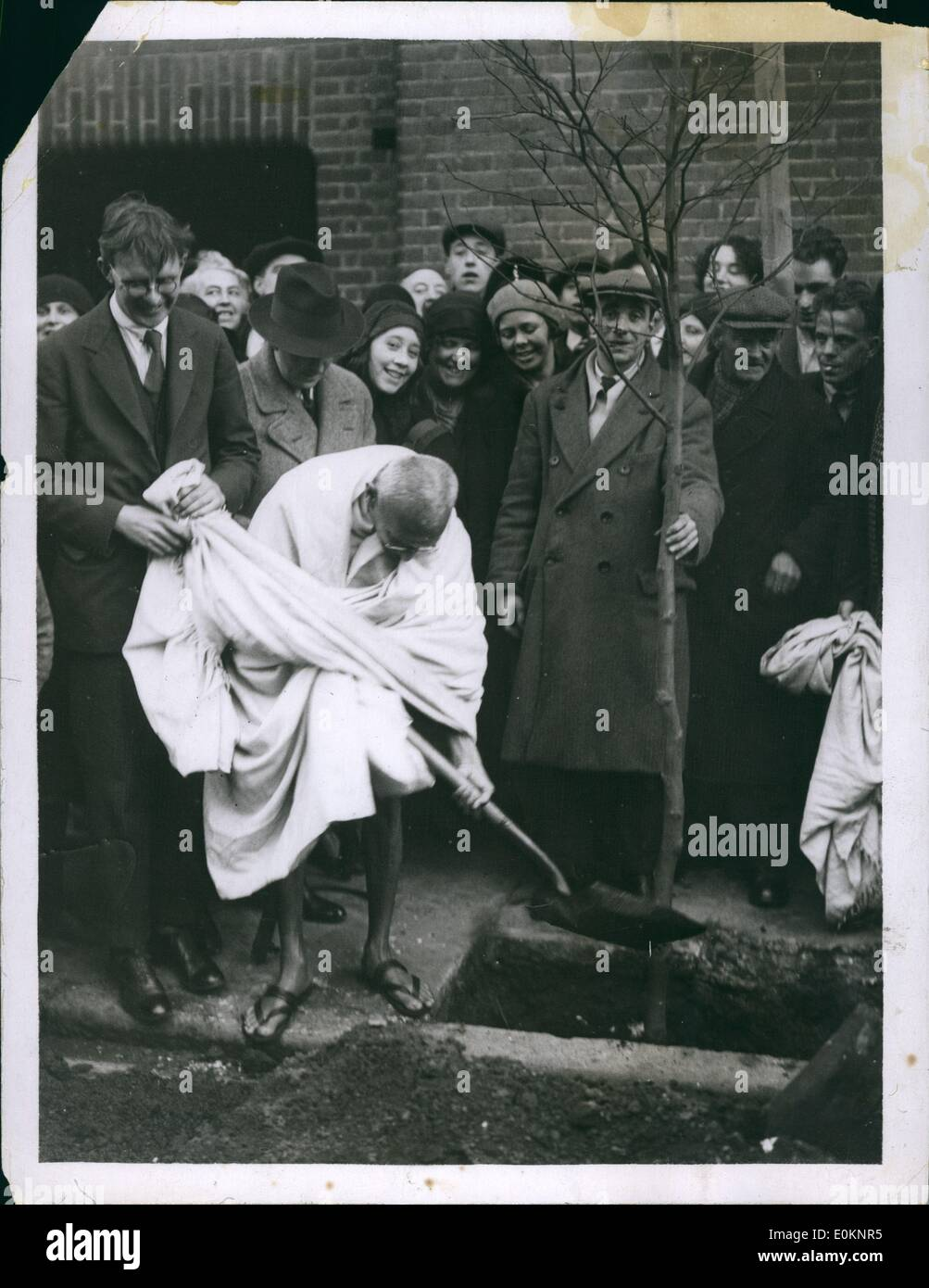 12, 1931 - Gandhi Plants Tree Outside Ringsley Hall: Mr. Gandhi planted a  tree outside Eingsley Hall, Bow, E. this morning