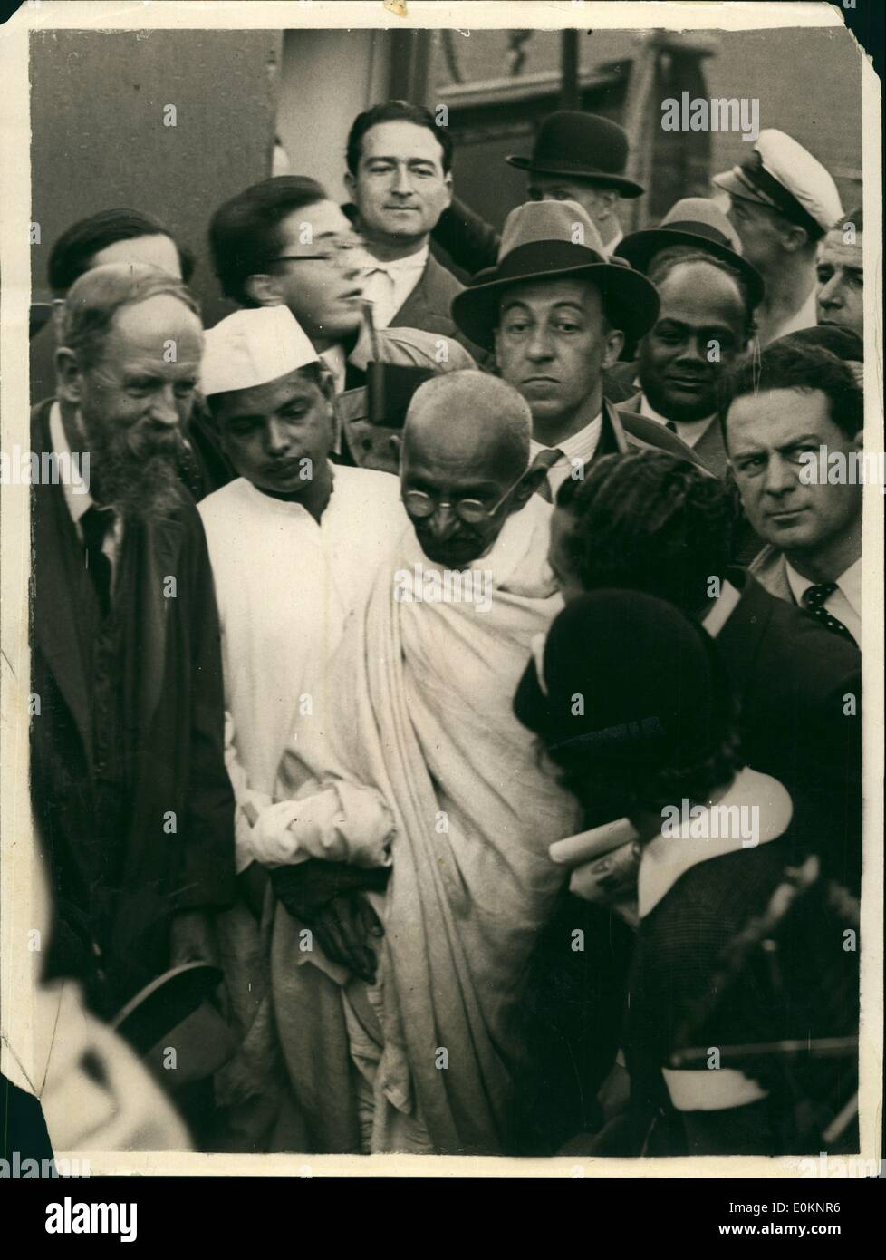 12, 1931 - Gandhi arrives in Marseilles : Photo shows The famos Hind~~  national leader surrounded by a huge crowd on his landing at the Marseilles  pier this ...