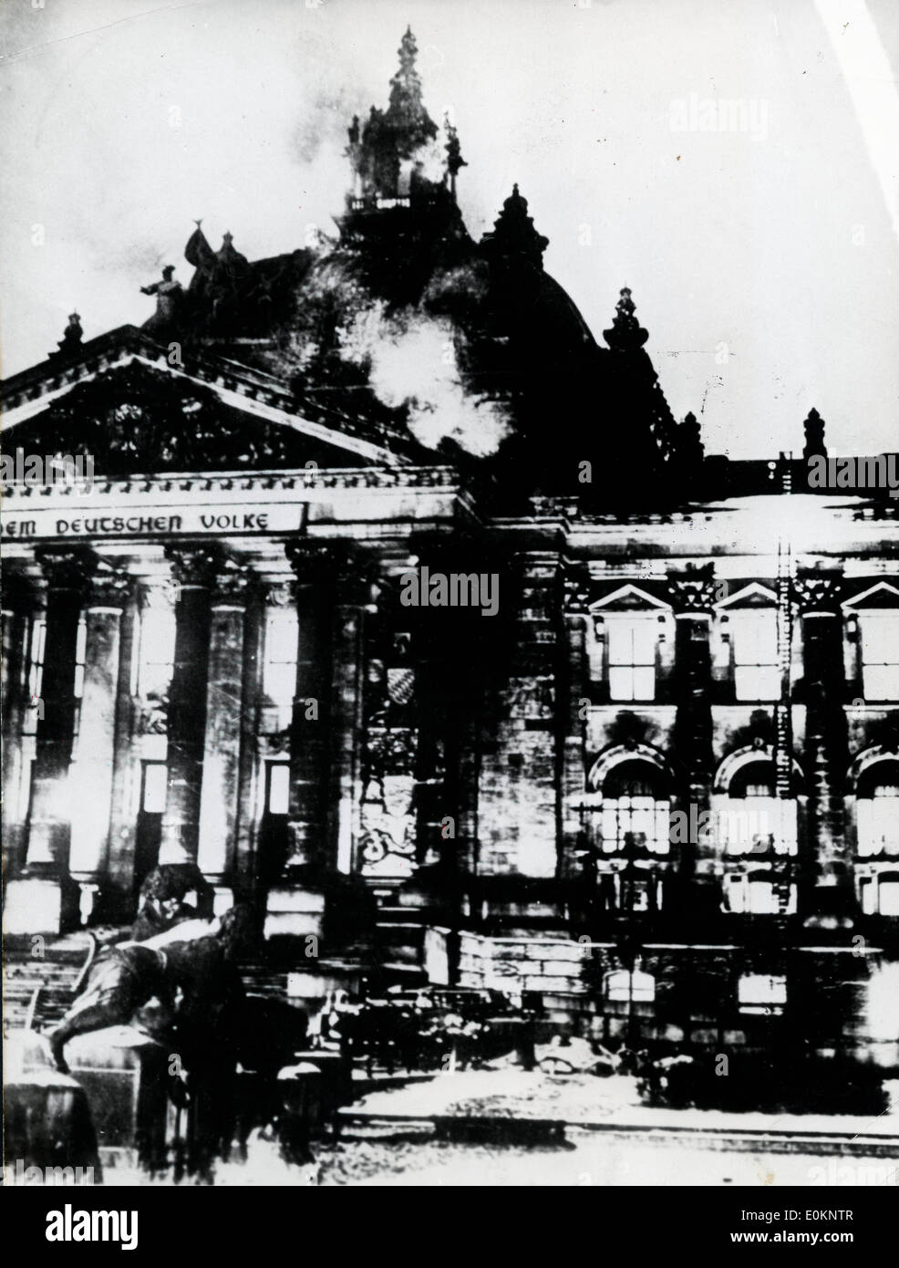 Fire in the Reichstag building in Germany Stock Photo ...