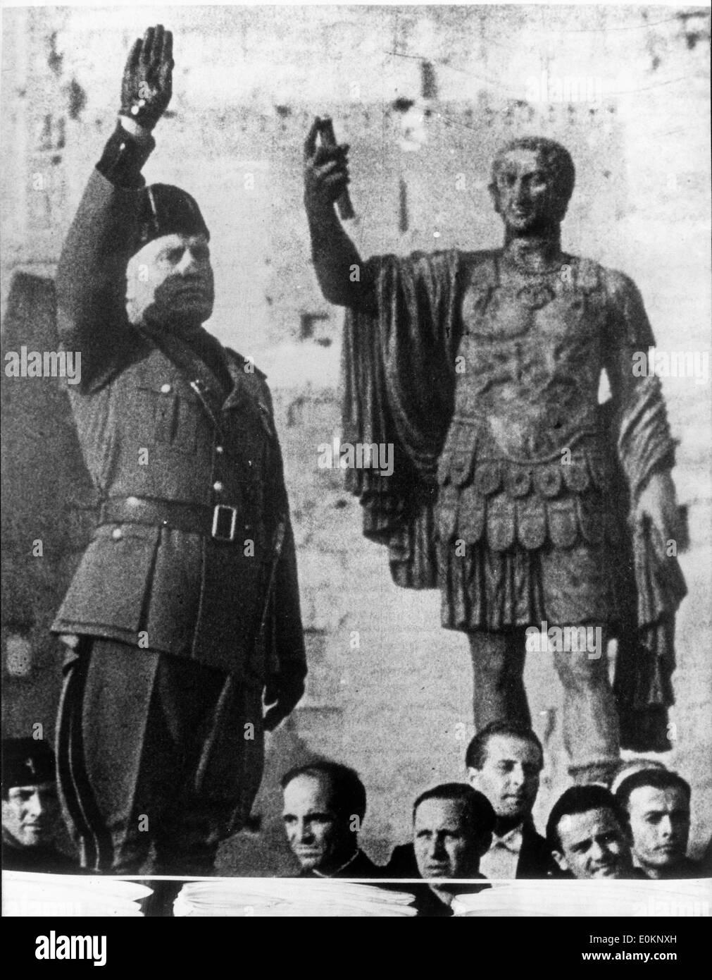 Dictator Benito Mussolini greeting civilians - Stock Image