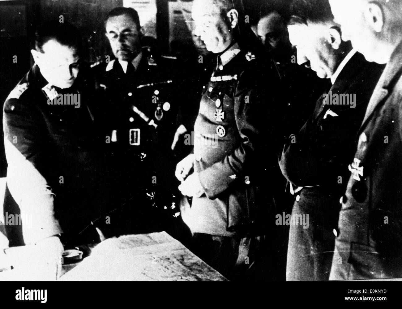 Adolf Hitler reviewing maps - Stock Image