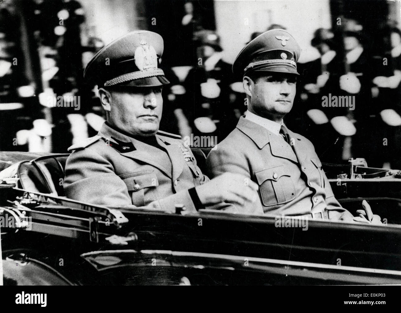 Benito Mussolini and Rudolf Hess in a car Stock Photo