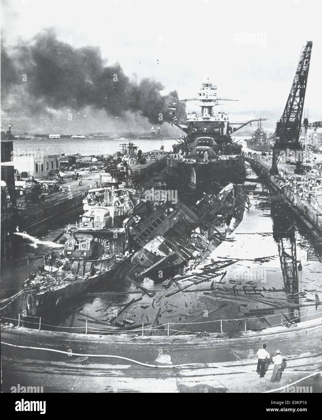 Aftermath of Attack on Pearl Harbor Stock Photo