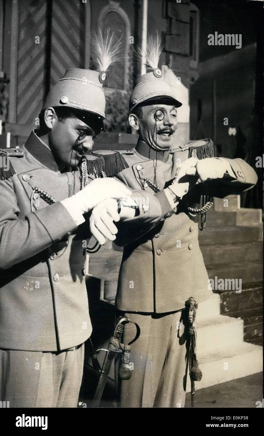 Aug. 08, 1933 - This was quite an excellent joke: which the both lieutenants are writing down on their paper cuffs. It is a nice scene from Ziehrer's classical operetta 'The Tramps'' which had is amusing revival in Munich Guertner Place Theatre. The first night was in Vienna in 1900. - Stock Image