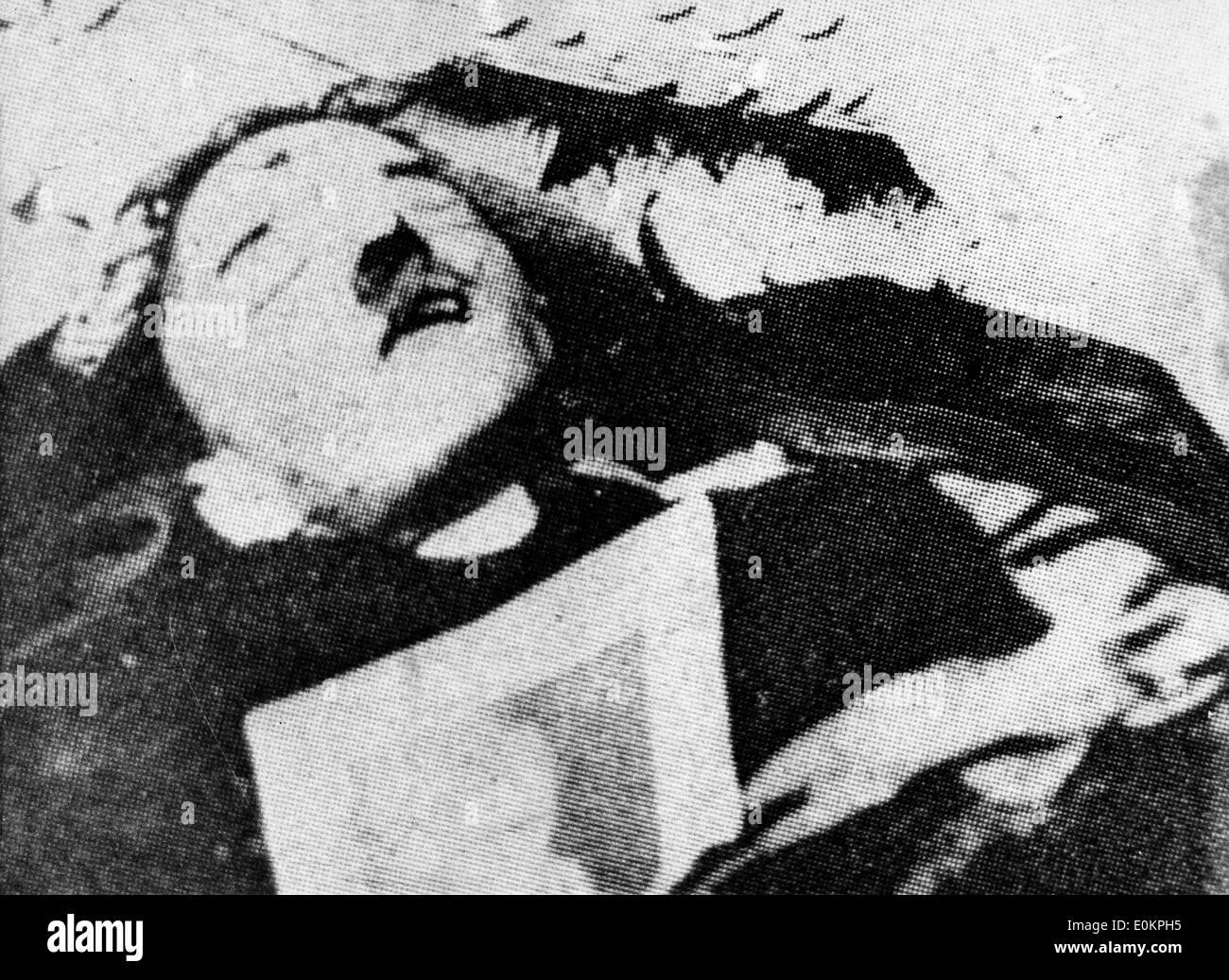 Adolf Hitler after he shot himself - Stock Image