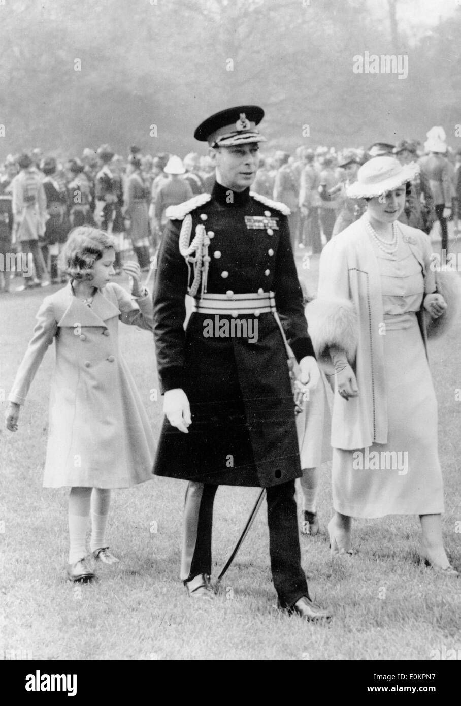 King George VI walking with wife Queen Elizabeth and daughter Princess Elizabeth Stock Photo