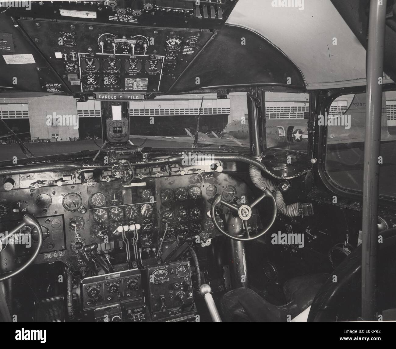 The cockpit of a DC-3 during World War Two - Stock Image