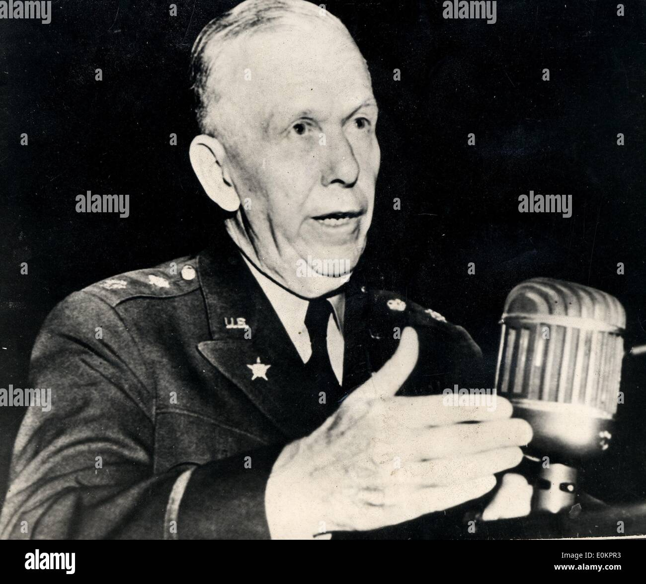 General Marshall talking about World War Two - Stock Image