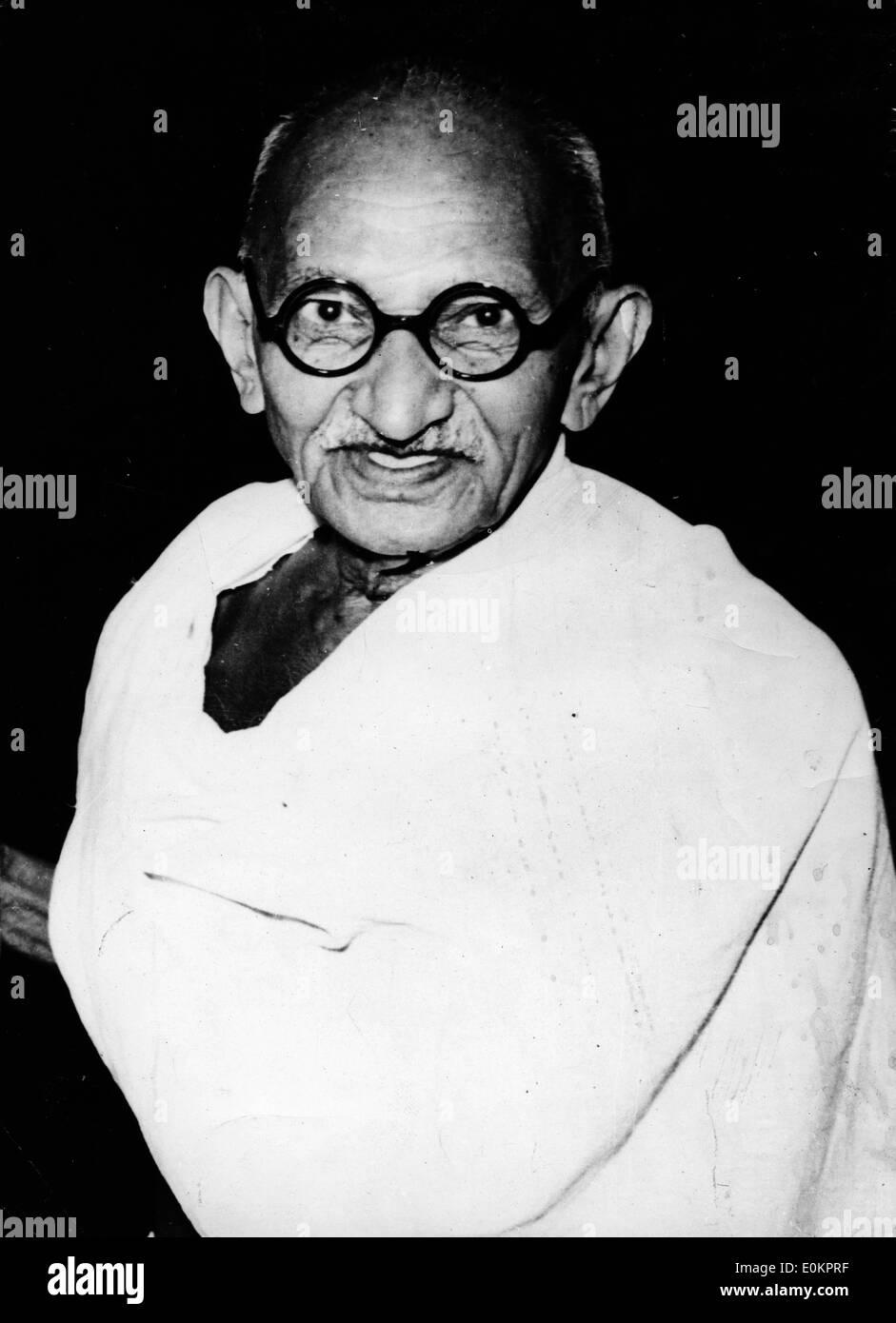Portrait of Mahatma Gandhi - Stock Image