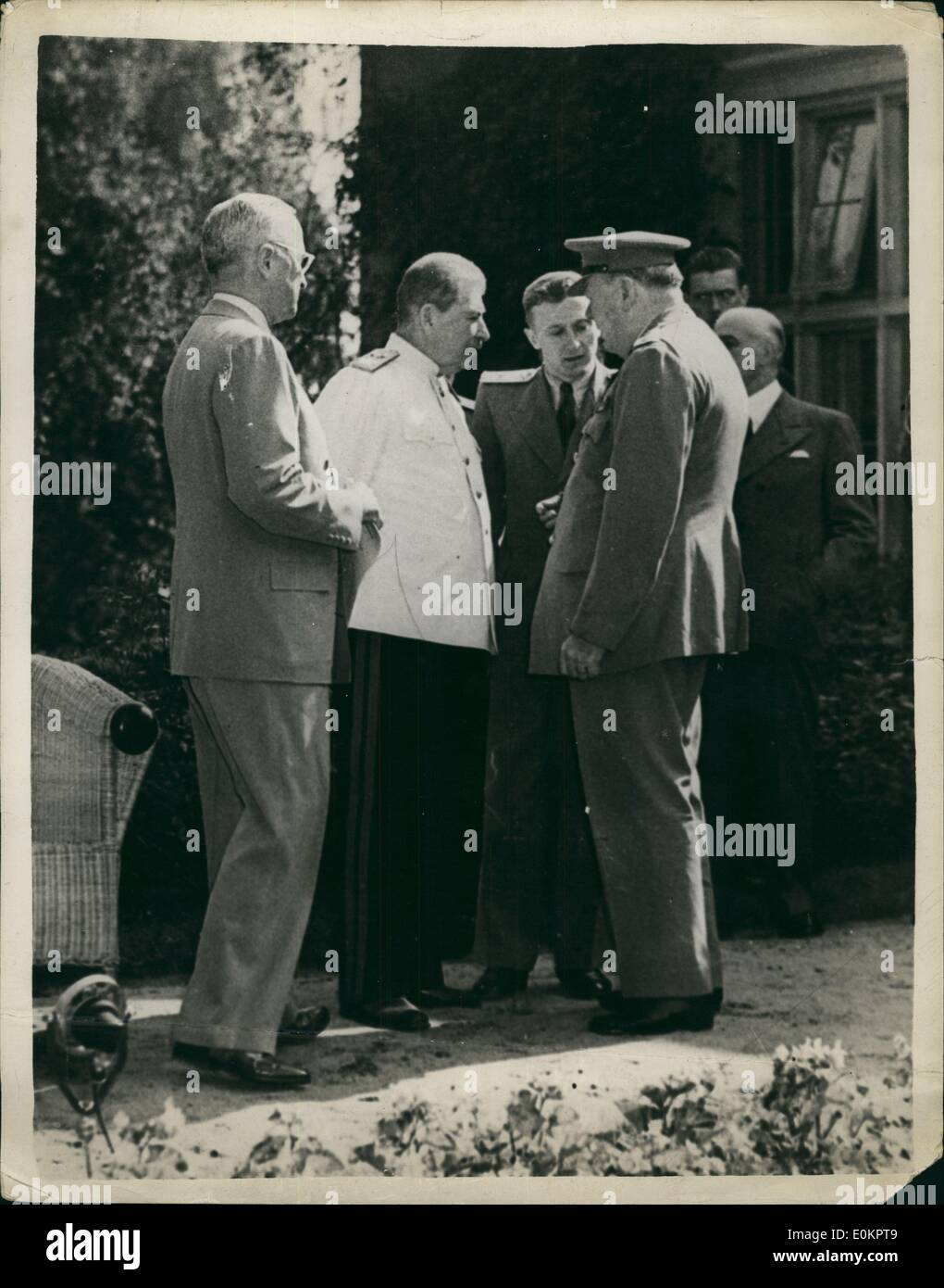 Jul 17, 1945 - Postdam, Germany - US President HARRY S. TRUMAN (L) with Russian Marshal JOSEPH STALIN (C), and British - Stock Image