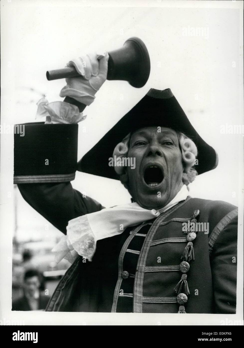 Aug. 08, 1945 - National Town Criers' Championships. The ''News of the World'' National Town Criers' Championship, took place today at Hastings. Photo shows. Ben Johnson, of Fowey, Cornwall who has won the championship for seven successive years-gets in a spot of practise before today's championship at Hastings. - Stock Image