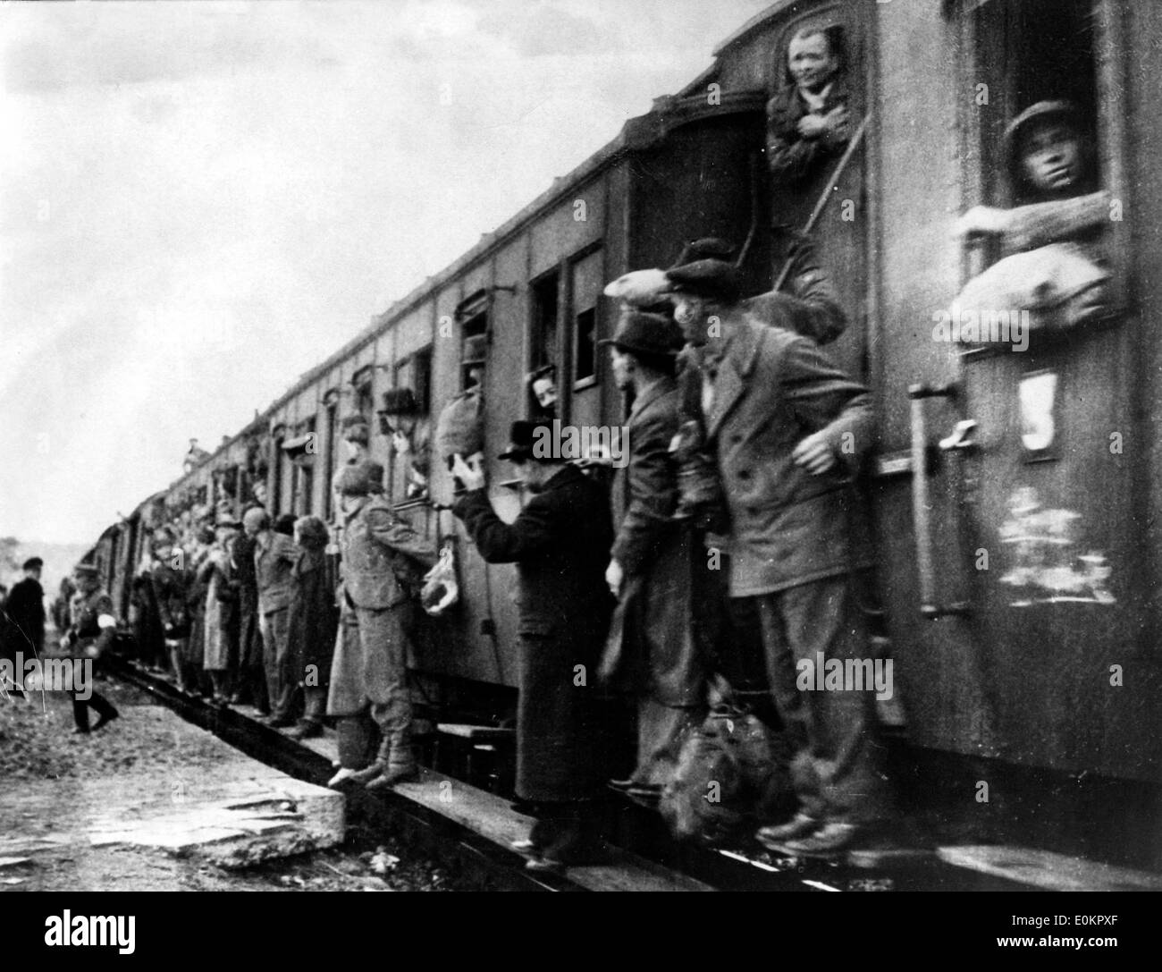 Refugees from the Hannover-Stocken Nazi Concentration camp in Germany - Stock Image