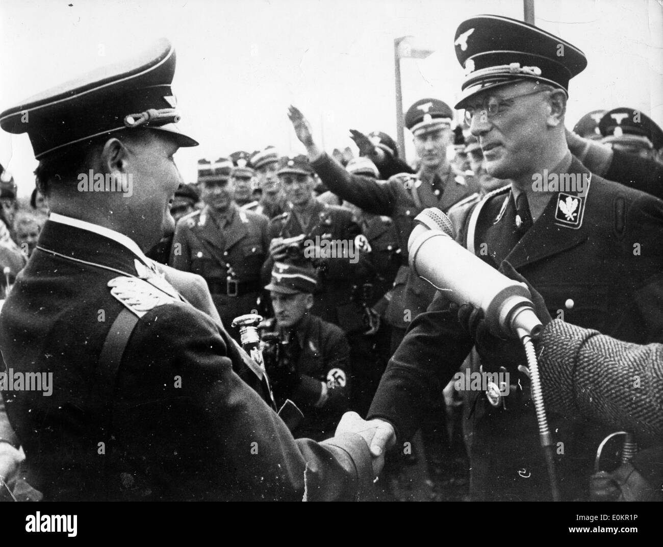 Hermann Goering greeted by Dr. Arthur Seyss-Inquart Stock Photo