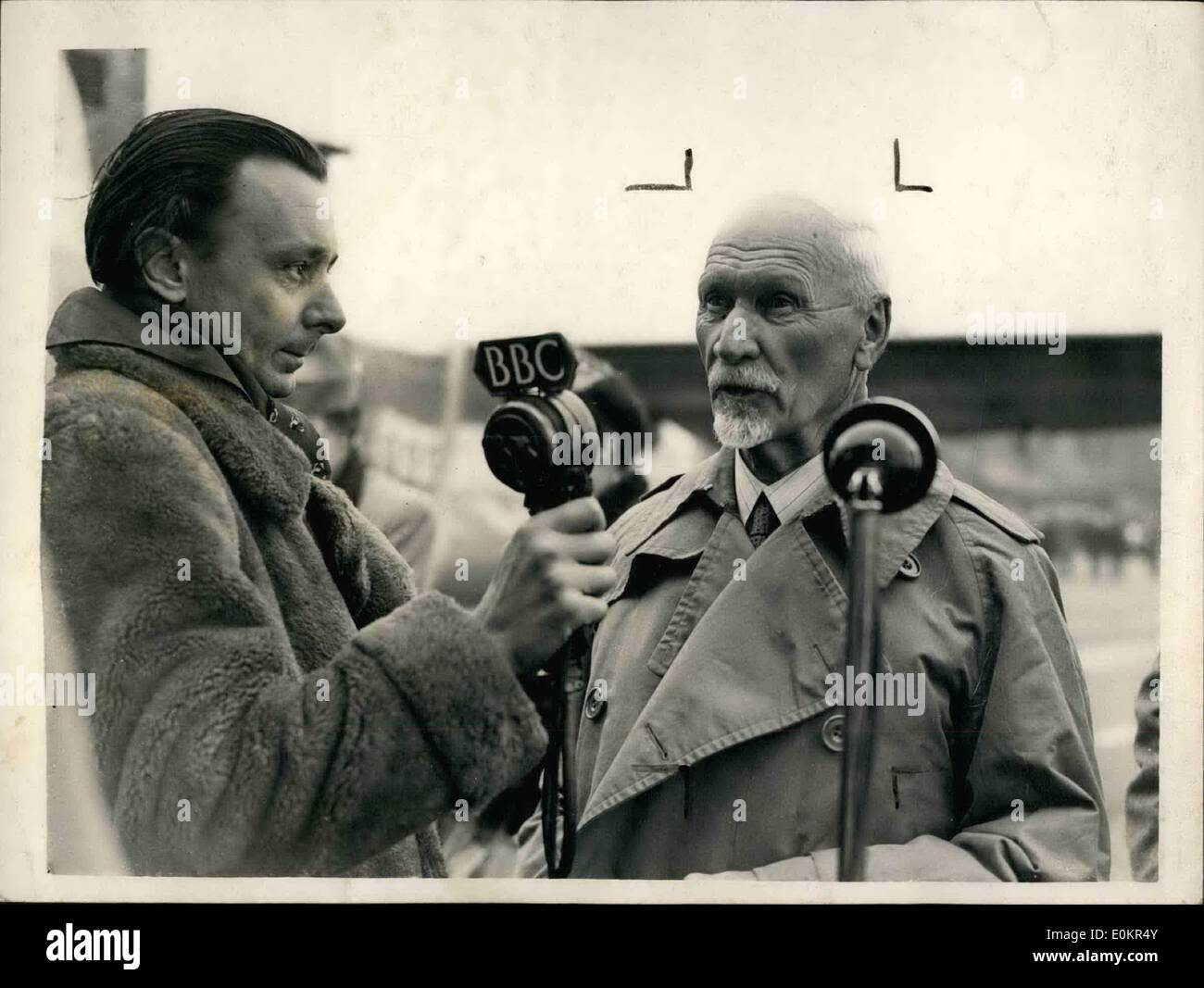 Apr. 04, 1946 - General Smuts Arrives For The  Prime Ministers Conference In London: General Smuts, South African Prime Minister arrived at Northolt aerodrome this morning. Phot Shows Closes up od General Smuts speaking into a  on his arrival at Northolt aerodrome this morning. - Stock Image