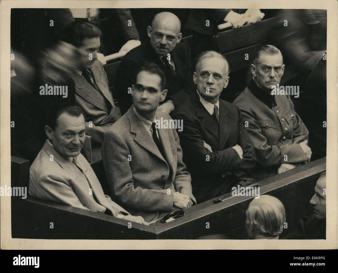 Oct. 10, 1946 - They know their fate. Five of the chief Nazis in Dock during stages of trail at Nuremberg. Five Stock Photo