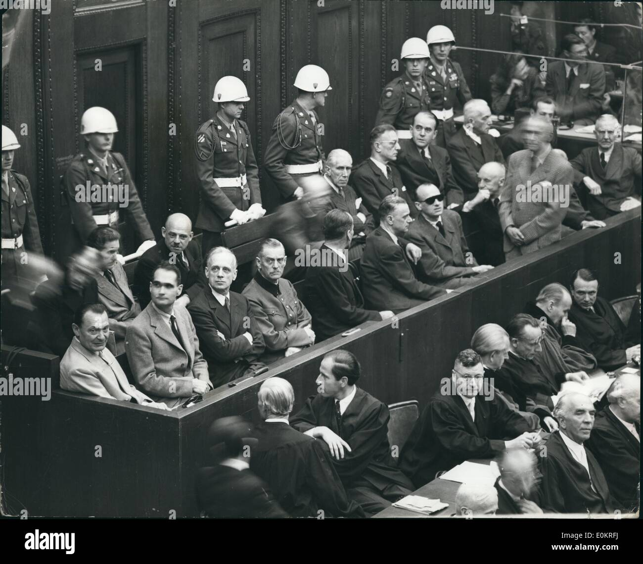 Oct. 10, 1946 - They Know Their Fate!!! Five Of The Chief Nazis In Dock During Final Stages Of Trial At Nuremberg: Stock Photo