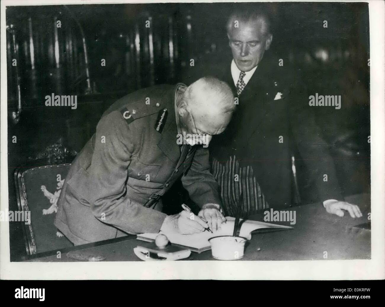 Oct. 10, 1946 - Field Marshal Smuts As Guest Of Belgian State: Phot Shows Field Marshal Smuts sigging the Golden Book recently, - Stock Image
