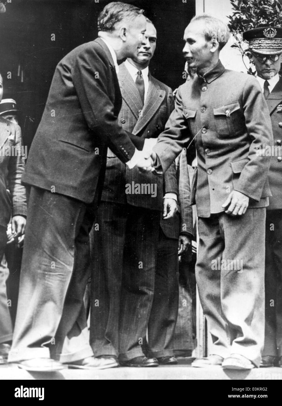 First Indochina War meeting Ho Chi Minh and Georges Bidault - Stock Image