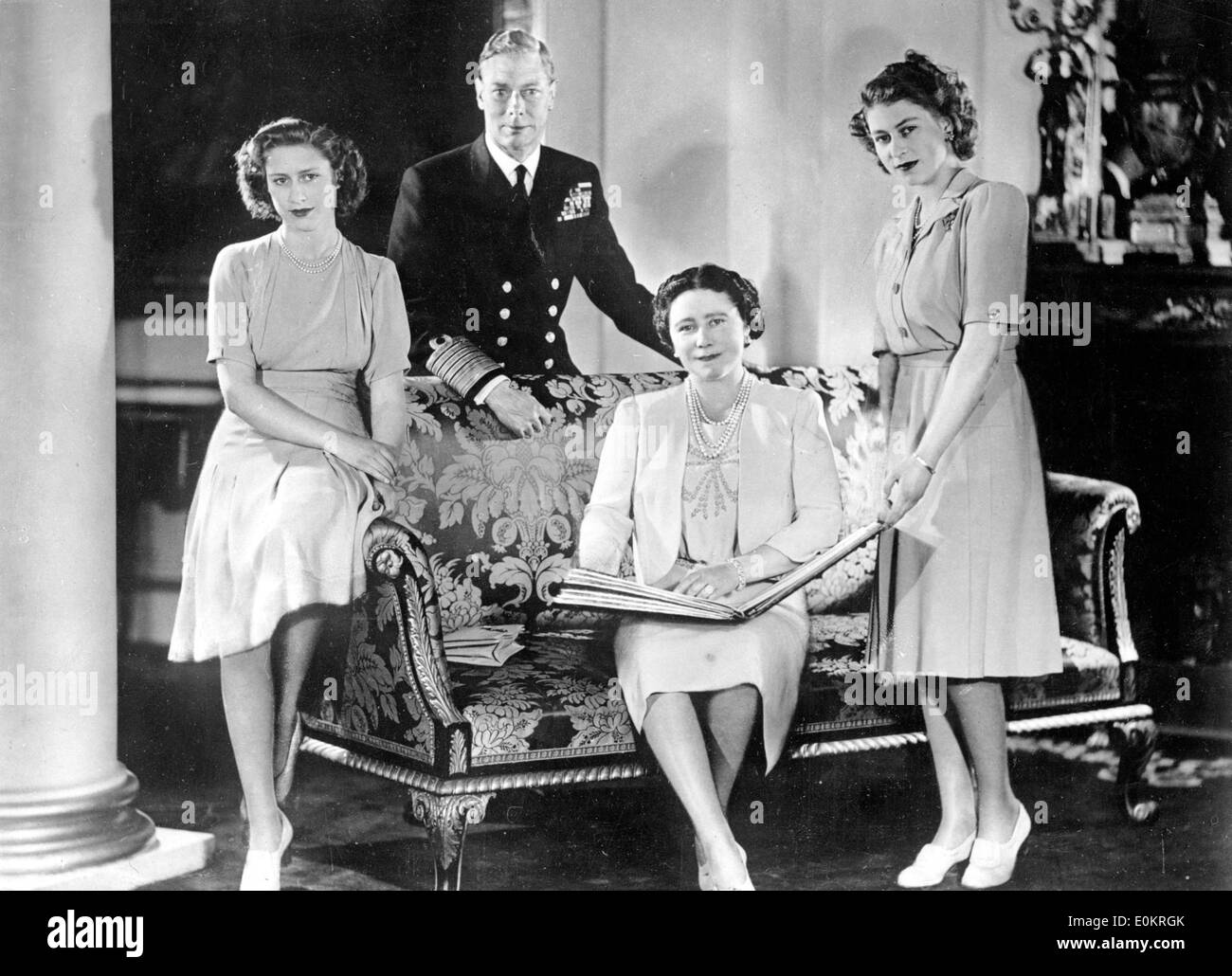 Portrait of King George VI and his family - Stock Image