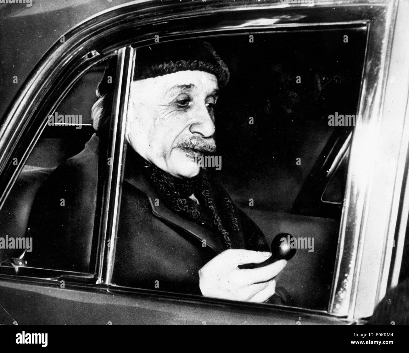 Professor Albert Einstein leaving the hospital where he underwent an abdominal operation - Stock Image